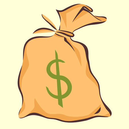 Money bag with dollar sign, cartoon style, isolated vector illustration
