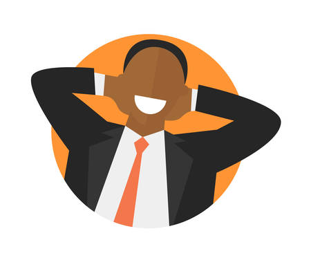 impersonal: Satisfied relaxing black man flat icon. Work done concept. Happy impersonal businessman. Isolated vector image