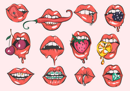 Pop art sexy lips vector set Çizim