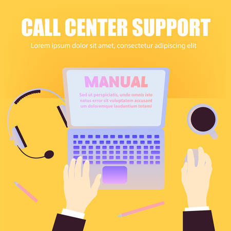 Call center support workers workspace with laptop, pencils, coffee, headphones on orange background and space for text. Flat design, top view, office table desk.