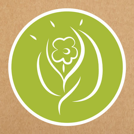 hypoallergenic: Eco hypoallergenic icon, flower and leafs Illustration