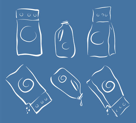 cleanser: Washing cleanser packagings icons set, full and empty, doodle sketch style, light strokes Illustration