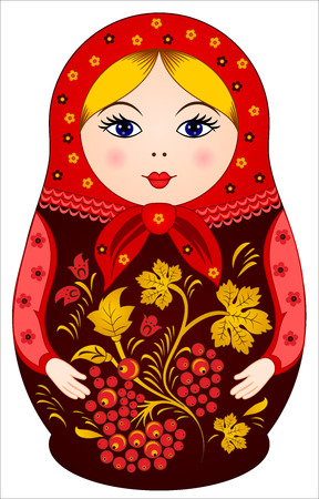 Traditional Russian Doll Matryoshka in Khokhloma style with berries Vector