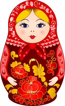russian ethnicity: Traditional Russiun doll Matryoshka in Khokhloma style Illustration