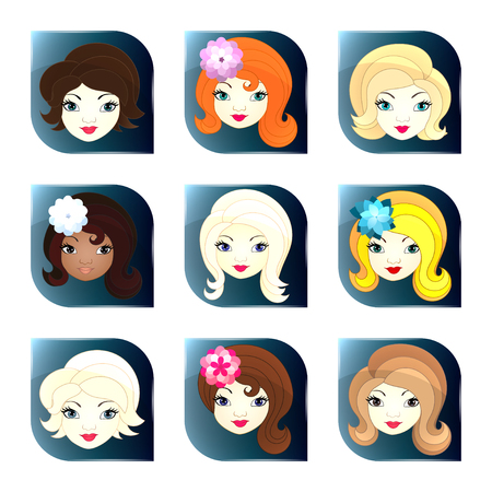 Vector glass buttons with girl faces for sites or mobile applications Vector