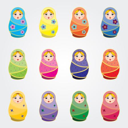 matryoshkas: Russian traditional dolls Matryoshkas set