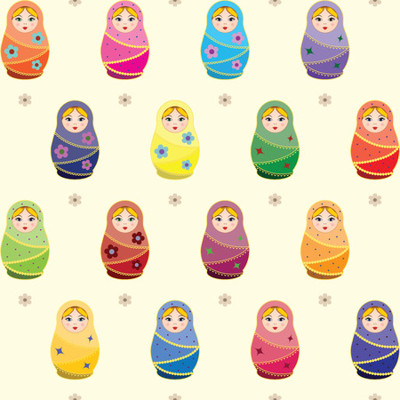 Seamless pattern with russian traditional dolls Matryoshkas