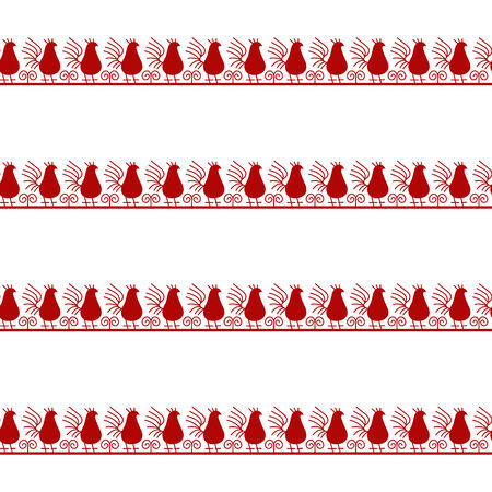 Seamless tribal pattern with red birds on white background