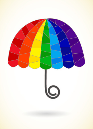 rainbow umbrella: Abstract segmented rainbow umbrella, vector pattern Illustration