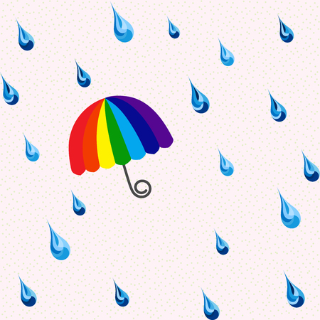 rainbow umbrella: Seamless rain and rainbow umbrella pattern, vector Illustration