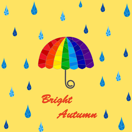 Segmented umbrella and rain drops Illustration