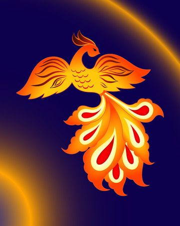 Magic firebird, vector pattern of fairy bird on a blue background