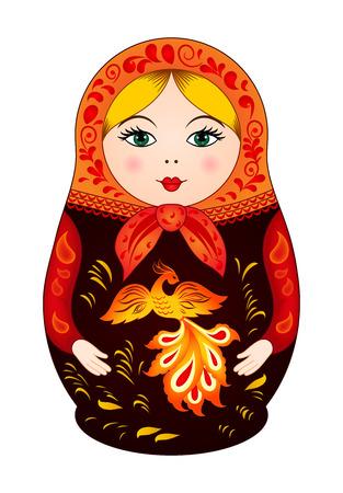 Matroesjka in de herfst stijl met Firebird. Russische traditionele houten pop, vector patroon