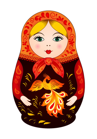 Matryoshka in autumn style with firebird. Russian traditional wooden doll, vector pattern