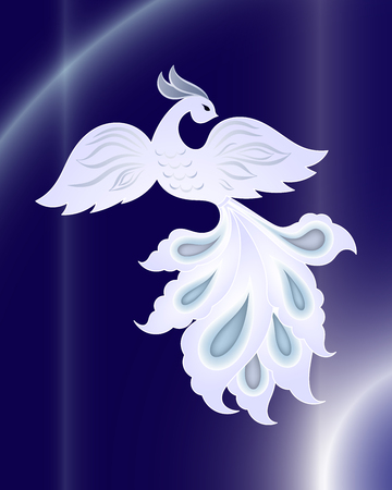 Magic white bird on dark blue background pattern Vector