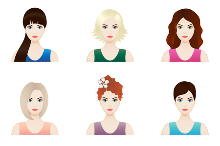 amiable: Illustration set of beautiful girl faces with different hairstyle, vector