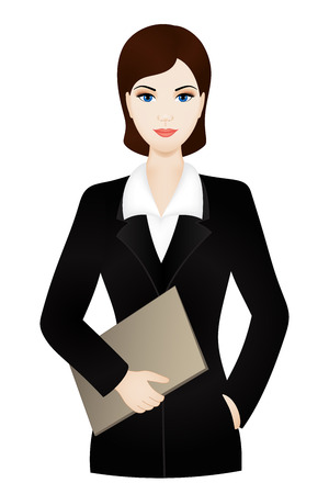 Business woman wearing an office suit with document case Vector