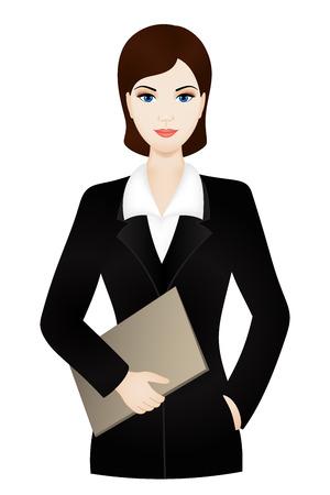 ドキュメント ケース付けのオフィス スーツを着て女性実業家