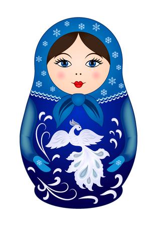 muñecas rusas: Muñeca de Matryoshka en el estilo de invierno. Muñeca, modelo del vector de madera tradicional de Rusia Vectores