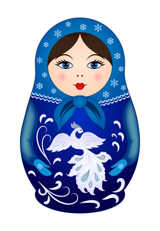 Matryoshka doll in winter style. Russian traditional wooden doll, vector pattern