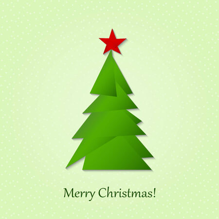 Card with Christmas tree. Design elements for holiday cards. Beautiful applique. Vector. Vector