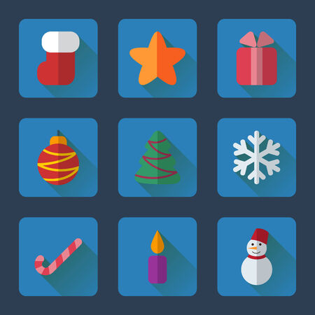 Christmas flat icons set for mobile or web site applications. Blue rectangle buttons on dark blue background. Vector