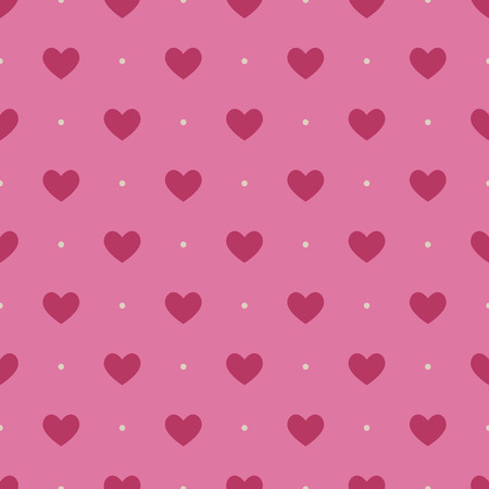 Seamless pattern with light vinous hearts on pink background Vector