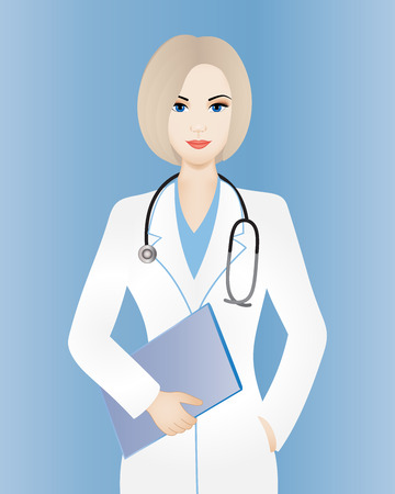 Young smiling female doctor with clipboard