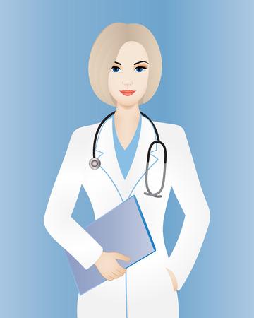 Jonge glimlachende vrouwelijke arts met klembord