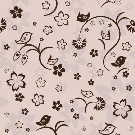 Seamless floral pattern with birds on beige background, vector Vector