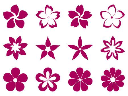 Ongebruikelijke bloemen vector set Stock Illustratie
