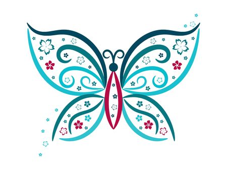 butterfly wings: Vignette butterfly with flowers in blue and pink colours, vector
