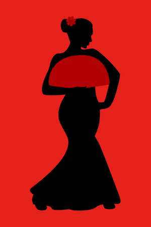 flamenco dress: Flamenco dancer silhouette with fan, vector