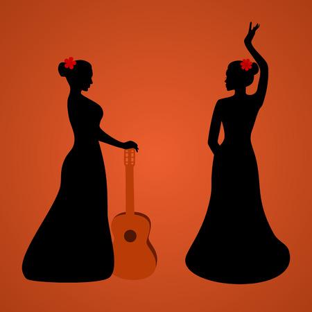 hot temper: Flamenco siluetas bailarín Vectores