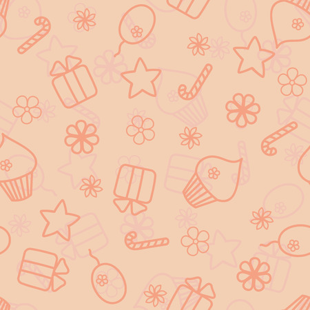Seamless holiday hand drawn pattern in peach colour Vector