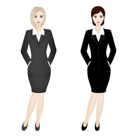 Twee zakenvrouwen. Illustratie van zakelijke vrouwen dragen grijze en zwarte office suit.