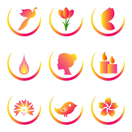 Set of colourful icons for spa, cosmetics, beauty Vector