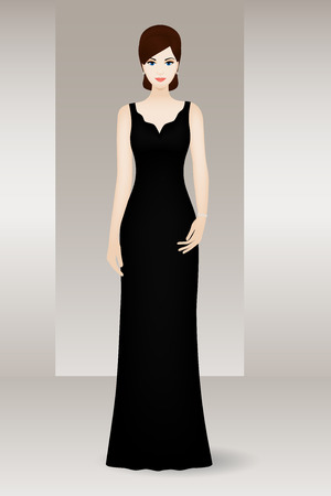 sexy woman standing: Woman in long black evening dress