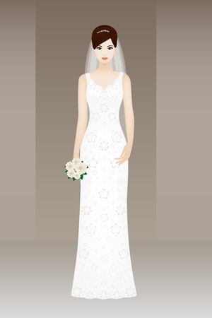 fiancee: Young beautiful bride on grey background, vector card for wedding