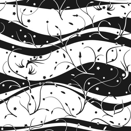seaweeds: Seamless pattern with waves and seaweeds, black and white Illustration