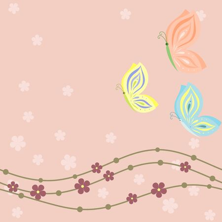 pastel shades: Spring floral card with butterflies in pastel shades