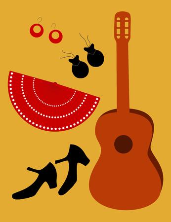 hot temper: Accesorios de flamenco: zapatos, guitarra ventilador, pendientes y casta�uelas Vectores