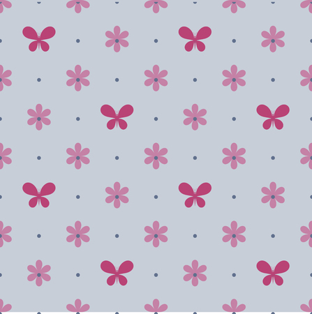 vinous: Seamless blue pattern with vinous flowers and butterflies Illustration