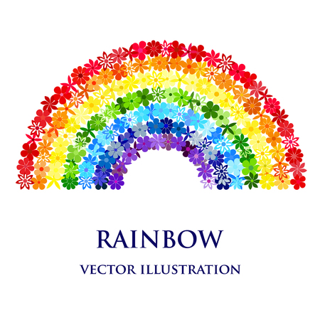 Rainbow consisting of colourful flowers. Vector creative concept.