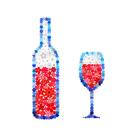 wine red: Floral red wine mosaic