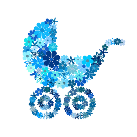 hues: Floral baby boy stroller in blue hues