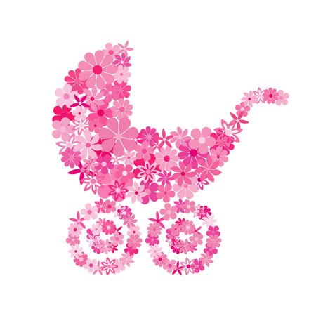 buggy: Baby buggy consisting of pink flowers. Illustration