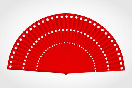 spanish fan: Flamenco polka-dot red fan, vector Illustration