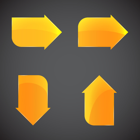 computer applications: Glass golden arrows. Buttons set for sites or mobile and other computer applications. Illustration