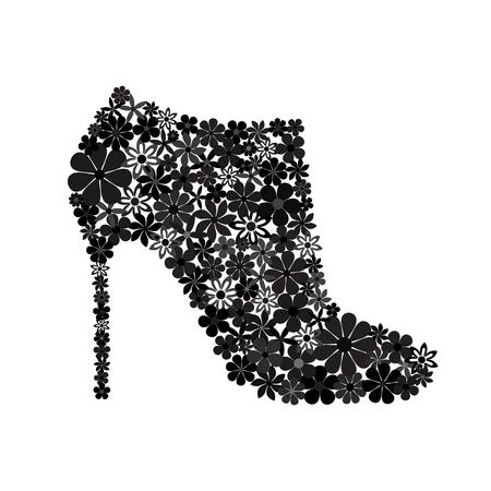 Floral mosaic black ankle boot on a high heel Illusztráció